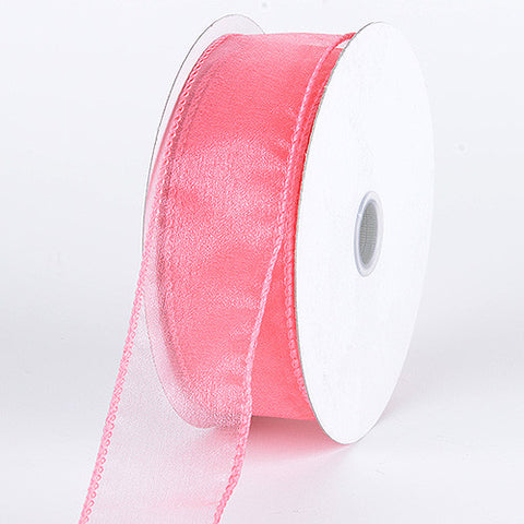 Organza Ribbon Thick Wire Edge 25 Yards Coral ( W: 1-1/2 inch | L: 25 Yards ) -