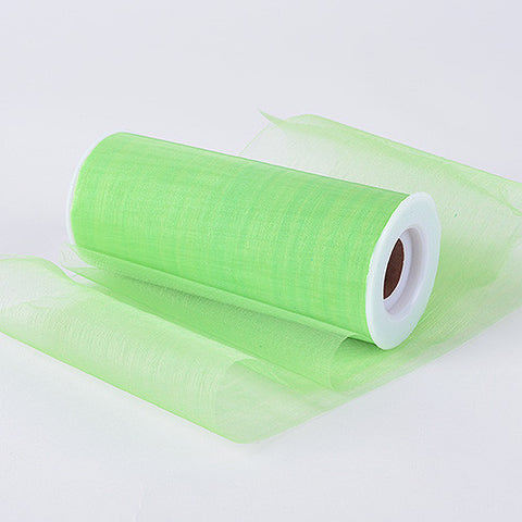 Organza Fabric 6 inch Apple Green ( W: 6 inch | L: 25 Yards ) -