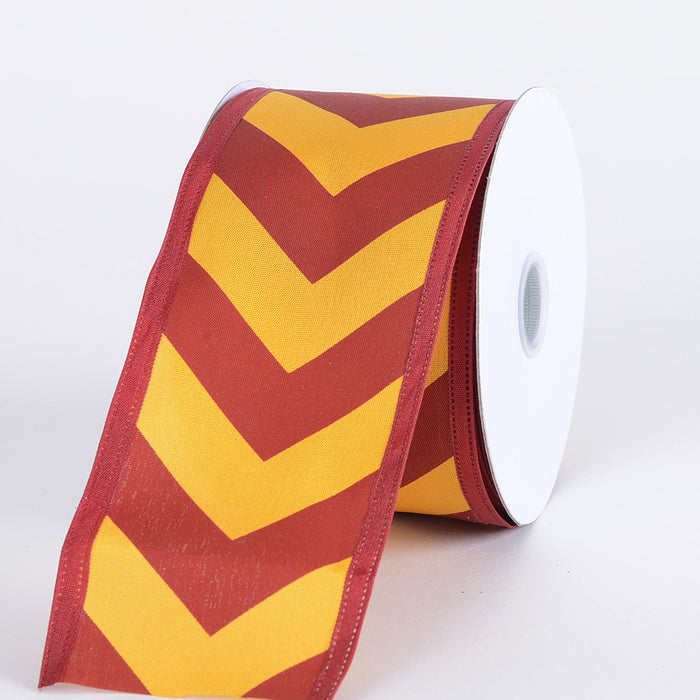 Chevron Print Satin Ribbon Burgundy with Light Gold ( W: 1-1/2 inch | L: 10 Yards )