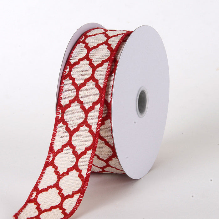 Canvas Ribbon Large Quatrefoil Print Red ( W: 1-1/2 inch | L: 10 Yards )