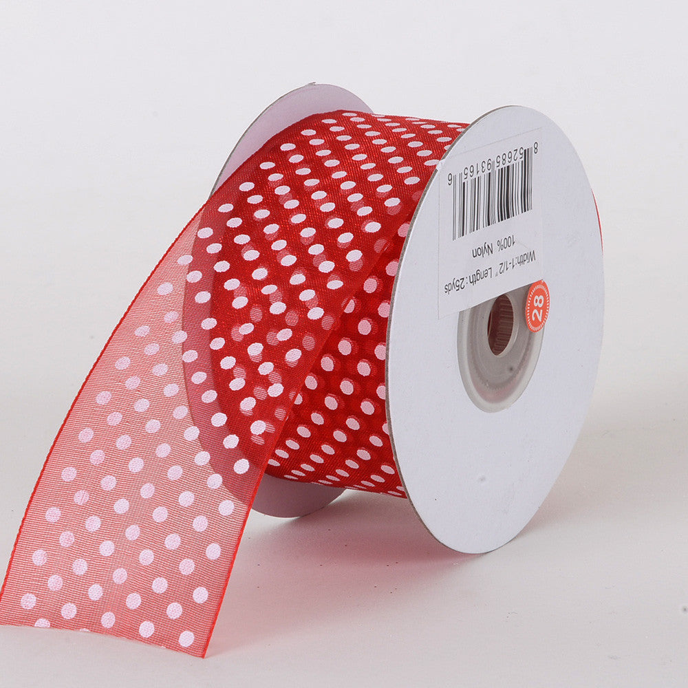 Organza Swiss Dots Ribbon Red ( W: 3/8 inch | L: 25 Yards ) -