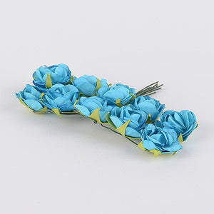 Paper Flowers (10x12) Turquoise ( 12 Paper Flowers ) -