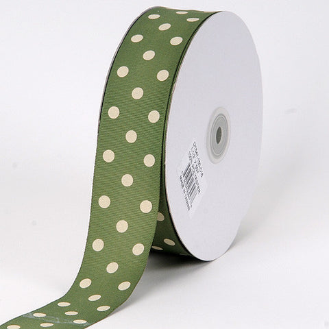 Grosgrain Ribbon Polka Dot Willow with Ivory Dots ( W: 3/8 inch | L: 50 Yards ) -