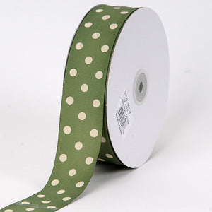 Grosgrain Ribbon Polka Dot Willow with Ivory Dots ( 7/8 inch | 50 Yards ) -