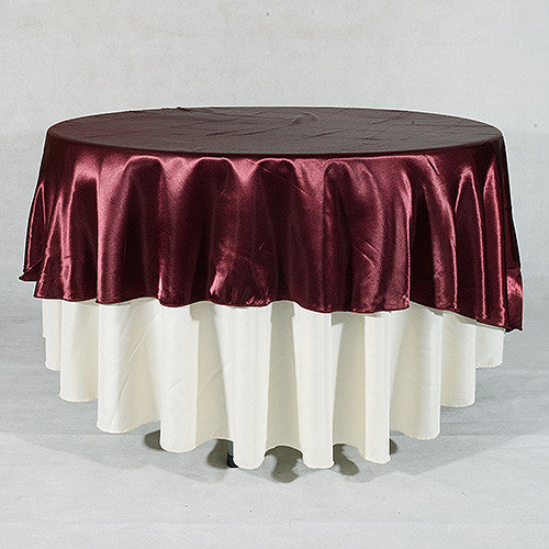Burgundy  90 Inch Satin Round Tablecloths- Ribbons Cheap