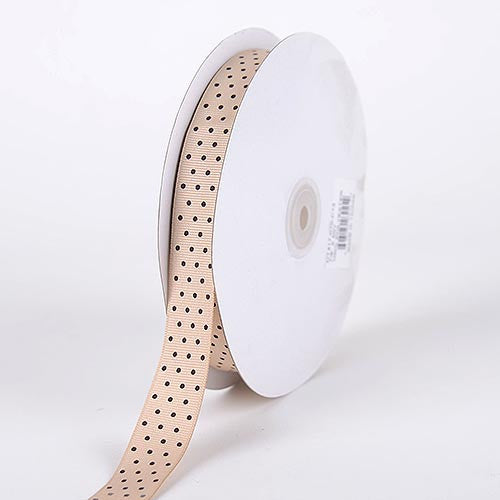 Grosgrain Ribbon Swiss Dot Tan with Brown Dots ( 5/8 inch | 50 Yards ) -