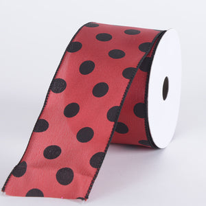 Satin Polka Dot Ribbon Wired Red with Black Dots ( W: 2-1/2 inch | L: 10 Yards ) -