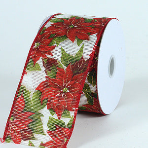 Christmas Ribbon Flower Design ( 1-1/2 Inch x 10 Yards ) -