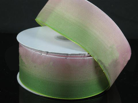 Ombre Ribbon Wired Edge Green Peach ( W: 1-1/2 inch | L: 25 Yards )