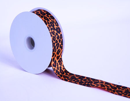Grosgrain Ribbon Leopard Print Orange ( W: 7/8 inch | L: 25 Yards ) -