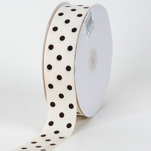 Grosgrain Ribbon Polka Dot Ivory with Brown Dots ( W: 3/8 inch | L: 50 Yards )