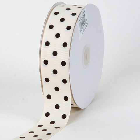 Grosgrain Ribbon Polka Dot Ivory with Brown Dots ( W: 3/8 inch | L: 50 Yards ) -