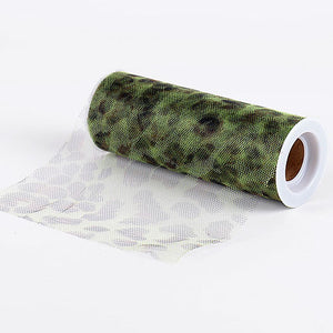 Cheetah Apple Green Animal Printed Tulle Roll ( W: 6 inch | L: 10 Yards ) -