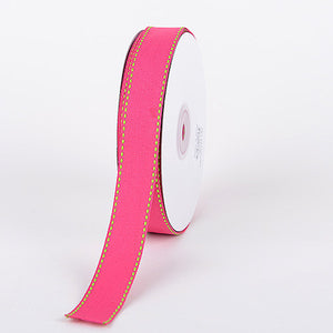 Grosgrain Ribbon Stitch Design Fuchsia with Apple Green Stitch ( W: 3/8 inch | L: 25 Yards ) -