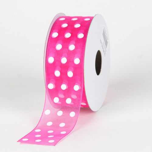 Organza Polka Dot Ribbon Fuchsia with White Dots ( W: 3/8 inch | L: 25 Yards ) -
