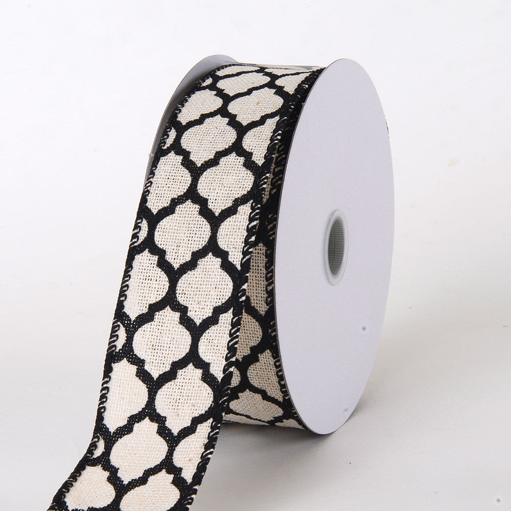 Canvas Ribbon Large Quatrefoil Print Black ( W: 1-1/2 inch | L: 10 Yards ) -