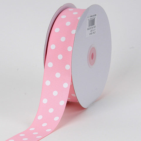 Grosgrain Ribbon Polka Dot Light Pink With White Dots ( W: 3/8 inch | L: 50 Yards ) -