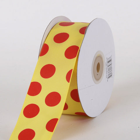Grosgrain Ribbon Jumbo Dots Daffodil with Red Dots ( W: 1-1/2 inch | L: 25 Yards ) -