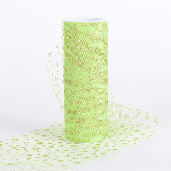 6 Inch x 10 Yards Sparkle Dot Tulle Apple Green ( W: 6 inch | L: 10 yards )