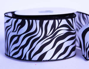 Satin Ribbon Animal Print Black ( 2-1/2 inch | 10 Yards ) -
