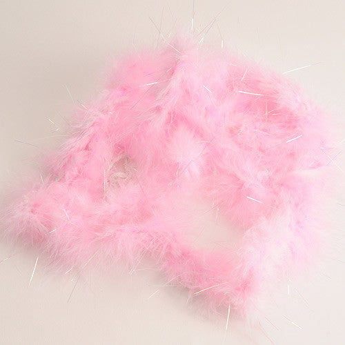 Mini Feather Decorations Light Pink Iridescent ( 2 Yards Boa )