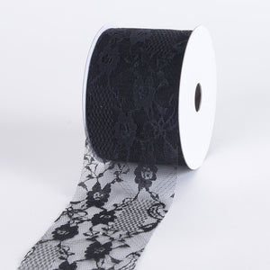 Floral Lace Ribbon Black ( 2-1/2 inch | 25 yards ) -