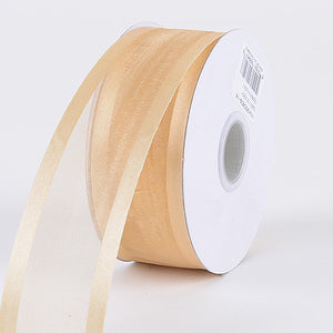 Organza Ribbon Two Striped Satin Edge Gold ( 1-1/2 inch | 25 Yards ) -