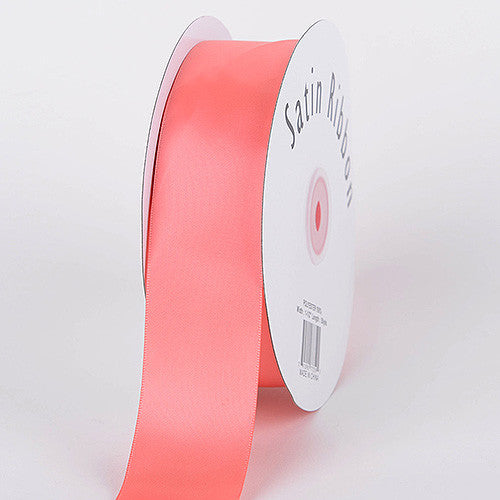 Satin Ribbon Single Face Coral ( W: 3/8 inch | L: 100 Yards )