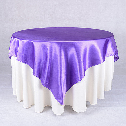 Purple  72 x 72 Satin Table Overlays  ( 72 x 72 Inch )- Ribbons Cheap
