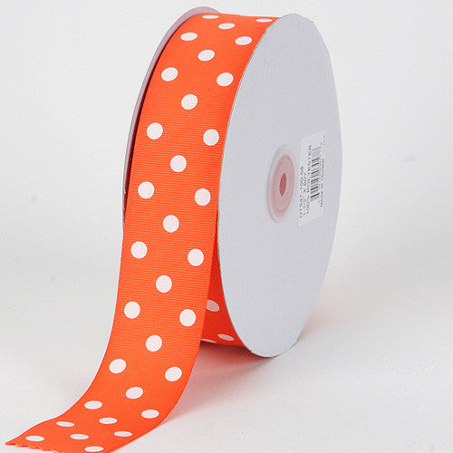 Grosgrain Ribbon Polka Dot Orange with White Dots ( W: 3/8 inch | L: 50 Yards ) -