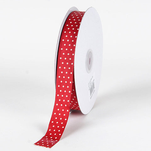 Grosgrain Ribbon Swiss Dot Cranberry With Ivory Dots ( 5/8 inch | 50 Yards ) -