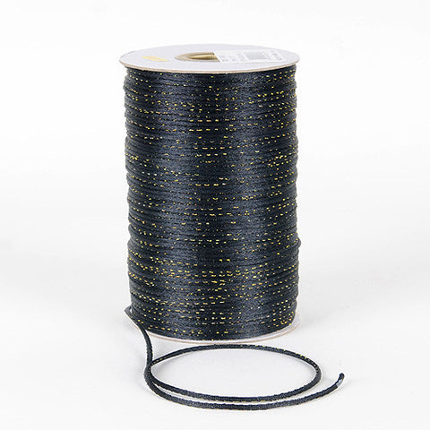 2mm Satin Rat Tail Cord Black with Gold ( 2mm x 100 Yards ) - Ribbons Cheap