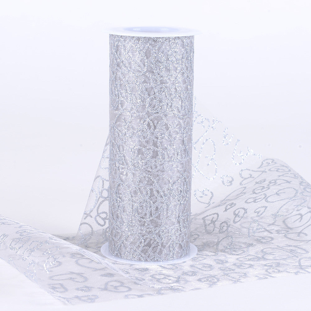 6 inch Glitter Hearts Organza Roll Silver ( W: 6 inch | L: 10 Yards ) - Ribbons Cheap
