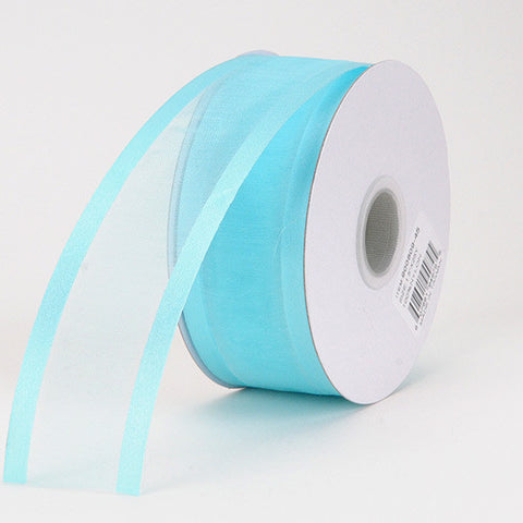 Organza Ribbon Two Striped Satin Edge Aqua Blue ( W: 3/8 inch | L: 25 Yards ) -