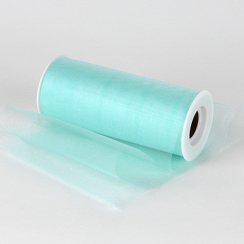 Organza Fabric 6 inch Aqua Blue ( W: 6 inch | L: 25 Yards ) -