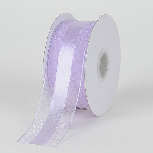 Organza Ribbon Satin Center Lavender ( W: 5/8 inch | L: 25 Yards ) -
