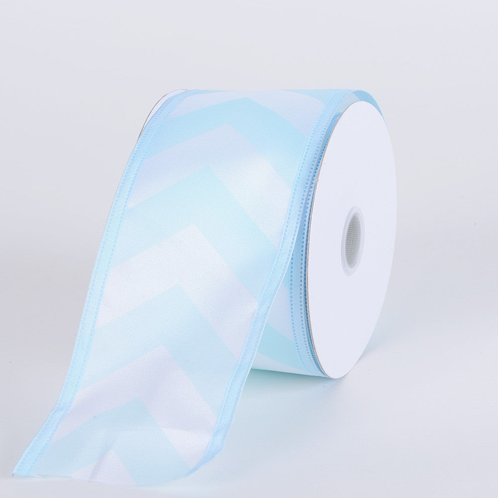 Chevron Print Satin Ribbon White with Baby Blue ( 2-1/2 inch | 10 Yards ) -