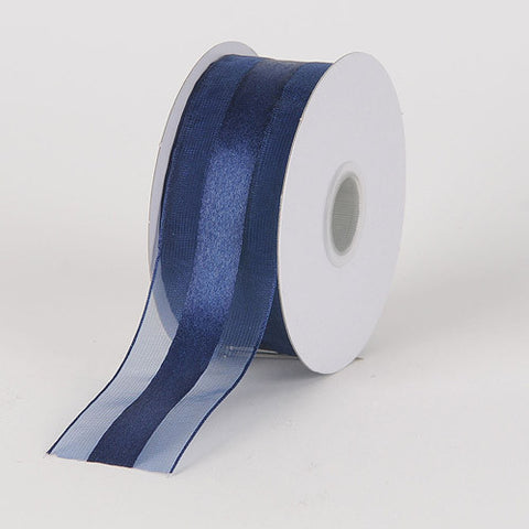 Organza Ribbon Satin Center Navy Blue ( W: 5/8 inch | L: 25 Yards ) -