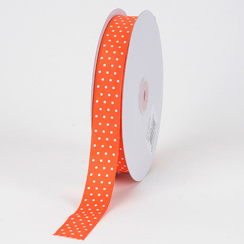 Grosgrain Ribbon Swiss Dot Orange with White Dots ( W: 3/8 inch | L: 50 Yards ) -