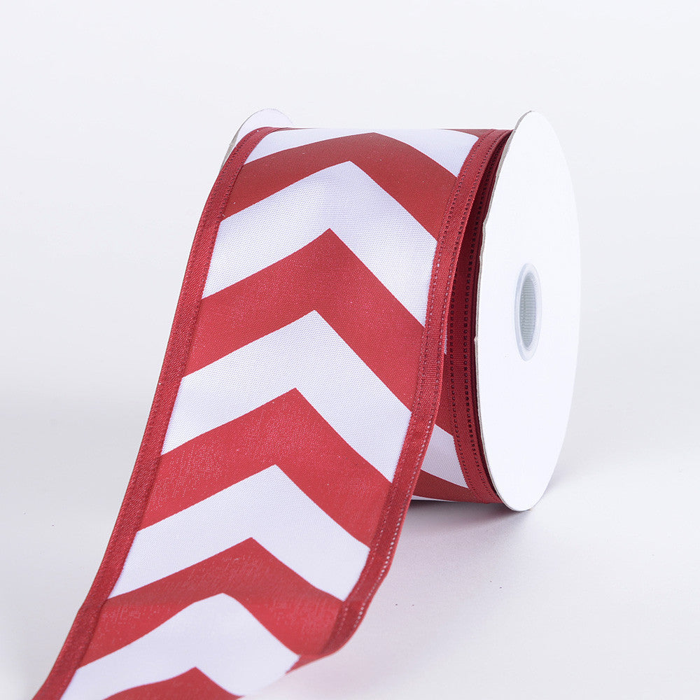 Chevron Print Satin Ribbon White with Crimson ( W: 1-1/2 inch | L: 10 Yards ) -