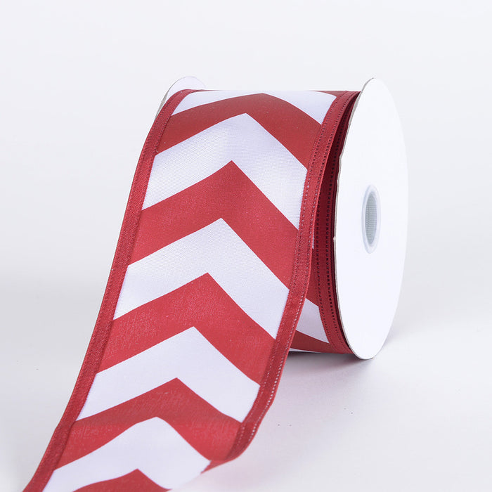 Chevron Print Satin Ribbon White with Crimson ( 2-1/2 inch | 10 Yards )