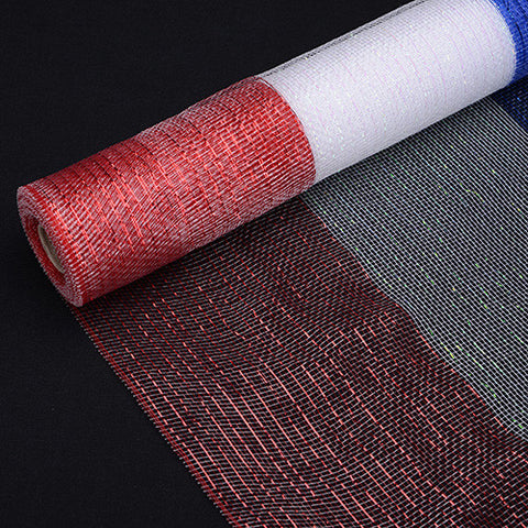 Deco Mesh Wrap Metallic Stripes Red White Blue ( 21 Inch x 10 Yards ) -