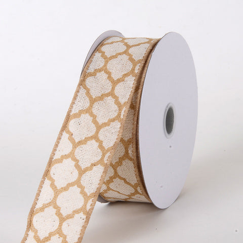 Canvas Ribbon Large Quatrefoil Print Natural ( W: 1-1/2 inch | L: 10 Yards ) -