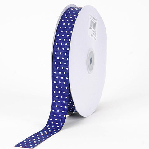 Grosgrain Ribbon Swiss Dot Purple with White Dots ( W: 3/8 inch | L: 50 Yards ) -