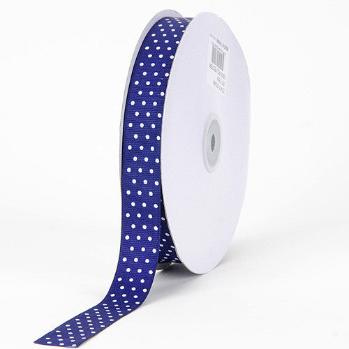 Grosgrain Ribbon Swiss Dot Purple with White Dots ( 5/8 inch | 50 Yards ) -