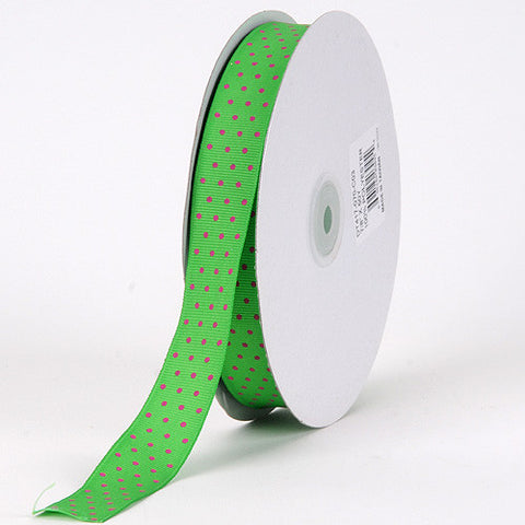 Grosgrain Ribbon Swiss Dot Emerald with Fuchsia Dots ( 5/8 inch | 50 Yards ) -