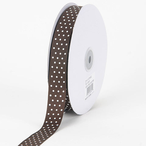 Grosgrain Ribbon Swiss Dot Chocolate Brown with White Dots ( W: 3/8 inch | L: 50 Yards ) -