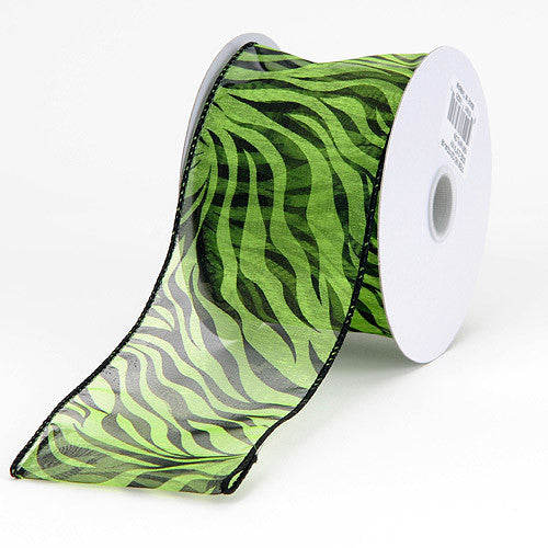 Organza Ribbon Animal Print Wired Lime ( W: 1-1/2 inch | L: 10 Yards )
