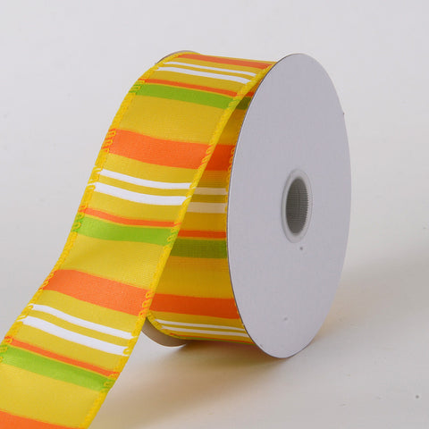 Multi Striped Satin Ribbon Sunflower ( W: 1-1/2 inch | L: 10 Yards ) -
