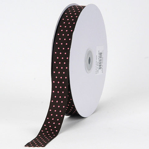 Grosgrain Ribbon Swiss Dot Chocolate with Pink Dots ( 5/8 inch | 50 Yards ) -